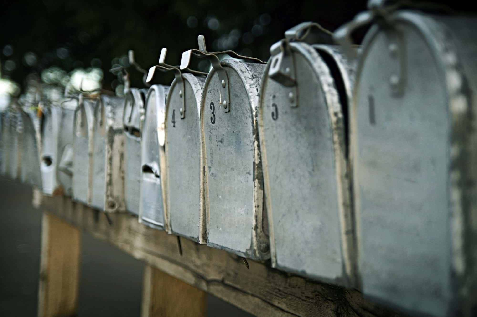 A row of mailboxes